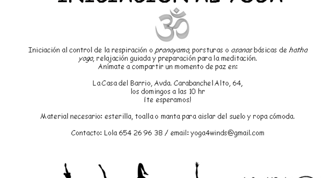 Nuevo taller iniciación al yoga. Domingos 10:00