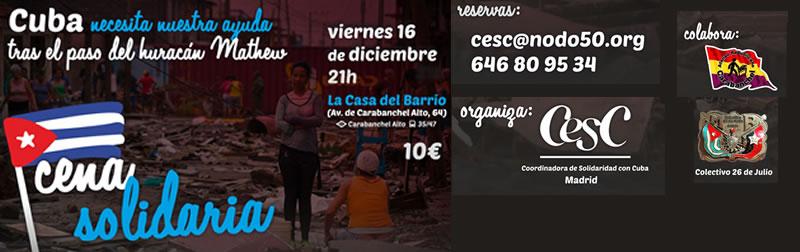 Cena solidaria con Cuba Viernes 16.12.